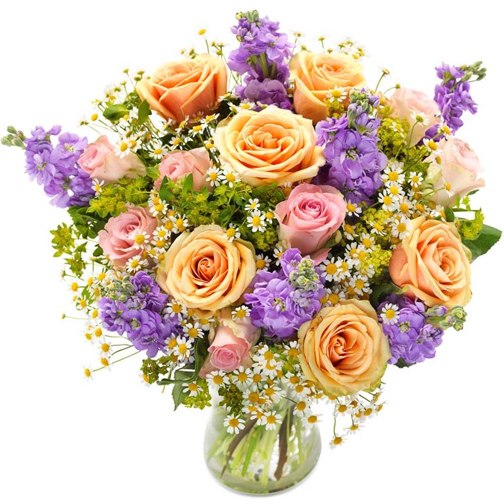 Bouquet Di Fiori.Bouquet Soave Rose E Violacciocche Fiorista Spagnoli