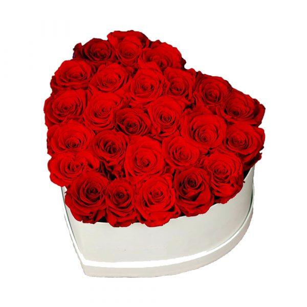 Cuore di rose in scatola